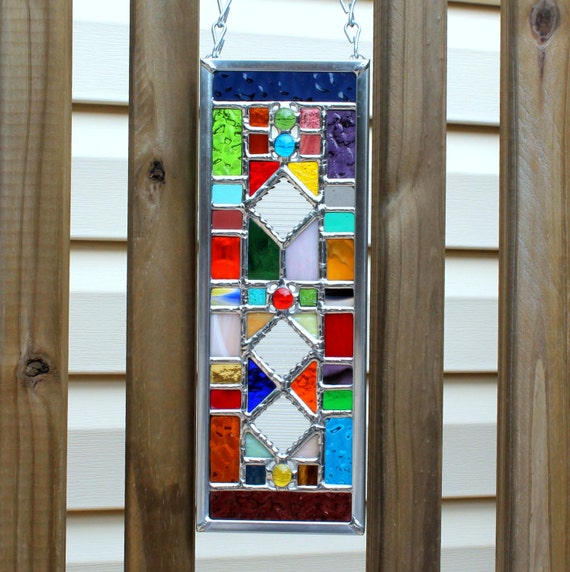 Multicolored Geometric Stained Glass Suncatcher By