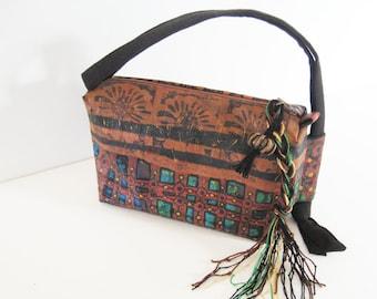 Tribal handbag , earthy pouch , rust red bag , red blue green black bag , boho bag , textile art