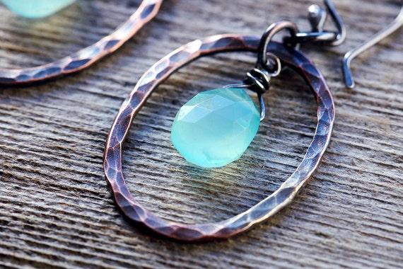 Aqua Chalcedony | Boho Rustic Earrings | Boho Chic Earrings | Copper Hoops | Dangle Earrings | Bohemian Earrings | For Her