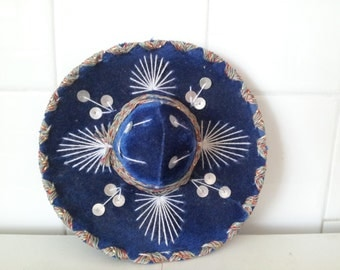 Vintage Navy Blue Silver Sequins Mini Sombrero For Pet