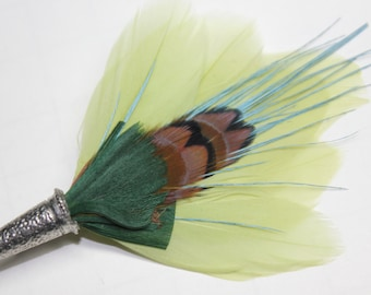 """Men's Lapel Pin, Feather Boutonniere, Hat Pin Brooch """"Mini-Pond"""" - green, aqua, cocoa feathers with silver toned pin base"""