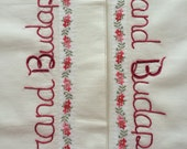 Grand Budapest Hotel, Pillowcases, Wes Anderson, Hand embroidered, Boho bedroom, movie