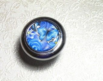 Blue Butterfly And Floral Polymer Drawer Cabinet Knobs Pulls