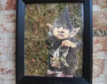 Vintage Troll Moss Wall Art, Troll with a Bat