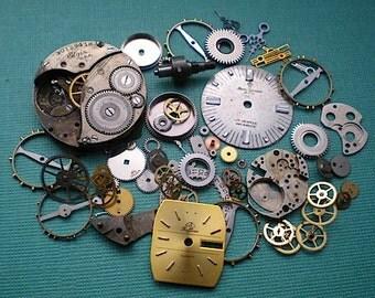Vintage steampunk watch parts sampler, No. 6
