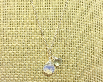 Faceted Opalite and Aquamarine Teardrop Necklace on Sterling Silver