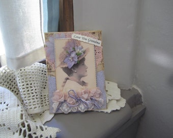 Grandma Birthday Card - Vintage Lady Card for Grandma
