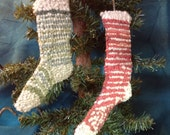 Primitive hand hooked christmas stockings ornaments  grungy christmas stockings sock ornaments