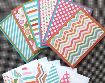 Blank Notecard Set: 6 Different Cards with Matching Embellished Envelopes - Sweet Summer