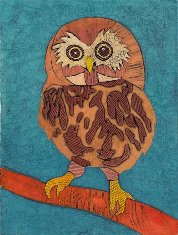 Whimsical Owl Original Hand-Pulled Collograph Fine Art Print - Hoo Are You 12