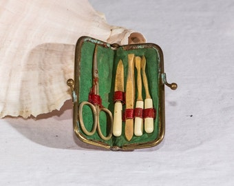 Vintage travel manicure set nail care completed Germany leather case rustic