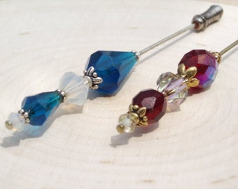Set of 2 Hijab Pins/Hat Pins/Scrapbooking/White Opal Crystal and Blue/Clear Crystal and Red