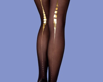 Charleston sheer black tights available in S-M L-XL