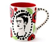 Frida Kahlo mug with poppy design