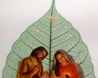 Nativity on leaf art. Ready to frame. No two leaf nor two of my handmade leaf art look exactly alike! Have you seen ancient rice straw art?