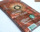 Recycled Starbucks Breakdast Blend coffee bag wrapper repurposed into a SWEET usable pencil case or cosmetic case