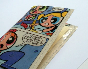 gift card holder - mini wallet UPCYCLED Power Puff Girls comic book page RECYCLED into gift card/business card holder