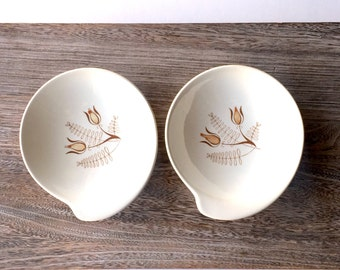 Royal China Company - Tanglewood Pattern Small Bowls - 1950s Design - MCM Pottery Ceramics - Summer House Chic - Ice Cream Bowl - Set of 2