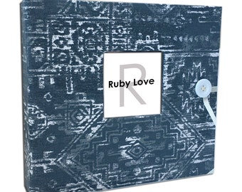 BABY BOOK | Gray Sioux Tribal Baby Book | Ruby Love Modern Baby Memory Book