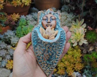 ceramic wall planter figurative garden art sculptural plant holder
