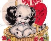 Puppy In A Basket Valentine Card Image Digital Download vintage holiday 1950s cute love sweet dear baby dog puppy heart flower basket animal