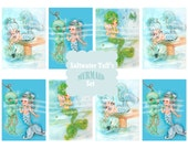 Mermaid ATC Tag Set Digital Download tags, ocean seagreen bubbles mermaid image seashell underwater starfish party gift tags 2.5 x 3.5