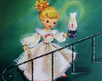 Cute Girl With Lantern Christmas Image Digital Download picture card holiday xmas vintage 1950s greetings gift tag pretty christmas eve