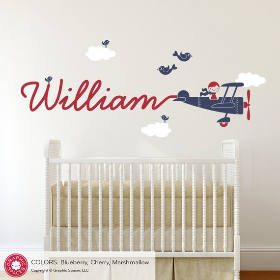 Airplane Decal Boy Name Skywriter Children Nursery
