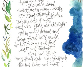 Hand lettered watercolor 8x10 print of Lord of the Rings quote