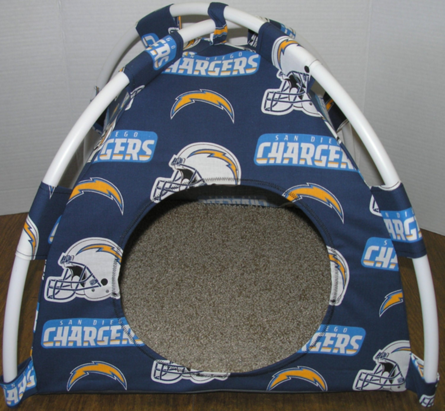 San Diego Chargers Canopy: Large Handmade San Diego Chargers Pup Tent Pet Bed For Cats