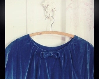 BE MINE Vintage plus size handmade velvet velour blue dress XL extra large bow detail