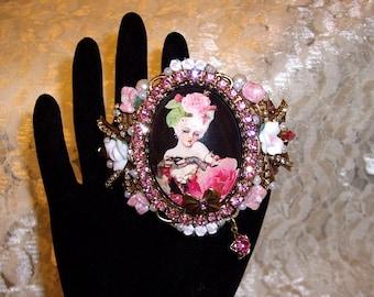 Glamour Marie Cuff Bracelet Ant Brass OX By Caroline Erbsland OOAK Signed