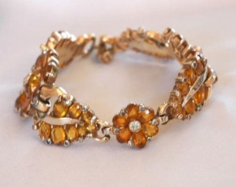 Exquisite Mazer Bracelet, Brown Topaz Stones, Open Setting, Like Fine Jewelry, Excellent Condition