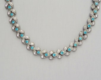 Art Deco Rhinestone Necklace. Aqua Blue. Pot Metal Leaves.