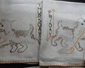 Vintage Days of the Week Scotty Dog Emroidered Hand Towels