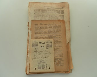 25 Pages of sepia toned vintage paper ephemera bundle