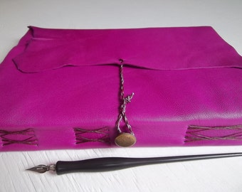 magenta leather journal, watercolor sketchbook, soft goatskin, mixed fine art papers for art and writing, purple leather