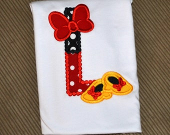 Red and Black Minnie Mouse Initial Shirt, Minnie Mouse Initial Shirt, Girls Disney Shirt, Girls Birthday Shirt