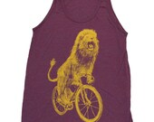 Lion on a Bicycle - Unisex American Apparel Tank Top