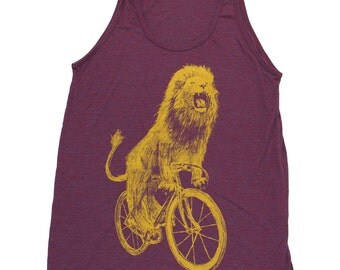 Lion on a Bicycle - Mens Tank top, Unisex Tank top, Tri Blend Tank, Handmade graphic tee, sizes xs-xxl