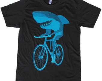 Mens Tshirt SHARK on a Bicycle T Shirt Black American Apparel Unisex BIKE Shirt