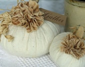 Fabric Pumpkin Set Off White Warm Natural Rustic Cottage Chic Fall Thanksgiving Centerpiece Table Decoration Wedding Favor Place Setting