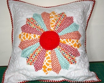 Hand Quilted Patchwork Pillow Cushion Dresden Plate Bonnie and Camille fabric