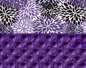 Minky Baby Blanket Girl, Gray Purple Flower Personalized Baby Blanket - Blooms