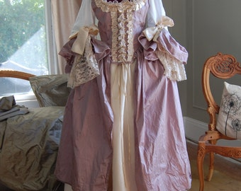 purple silk and satin Marie Antoinette Victorian inspired rococo costume dress halloween pirate lass