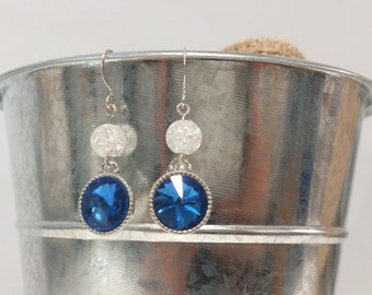 Simple Blue Rhinestone Earrings