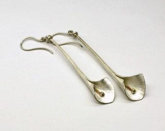 earrings, calla lily, silver.