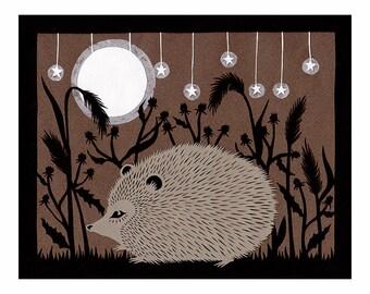 Hedgie - 8 x 10 inch Cut Paper Art Print