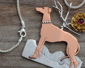 Italian greyhound art pendant necklace dog jewelry rescue memorial jewelry whippet levrier sterling silver mixed metal animal puppy