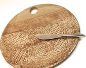 Cheese Plate - Cheese Stone - Tapas Plate - Natural Clay  with pattern  with knife -  Ready to Ship